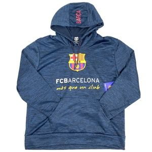 FC Barcelona Blue Graphic Pullover Hoodie Sweater